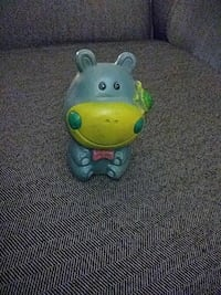 gray and yellow hippo rubber toy