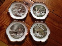 4 VINTAGE WINTER SCENES CURRIER AND IVES SCALLOPED EDGE HANGING PLATES Catasauqua, 18032