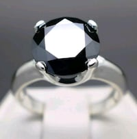 3.50ct Natural Black Diamond Ring Size 7 Silver Spring, 20906