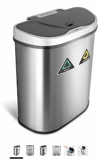 Hands Free Dual Compartment Motion Sensor Trash Can