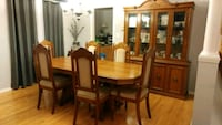 rectangular brown wooden table with six chairs din Brampton, L7A