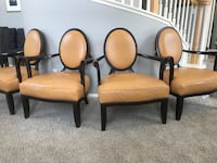 Two or Four Wood Real Leather Upholstered Club Chairs - English/French Style Escondido, 92026