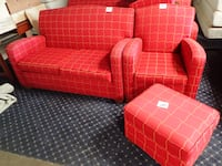red and white plaid sofa set KANSASCITY