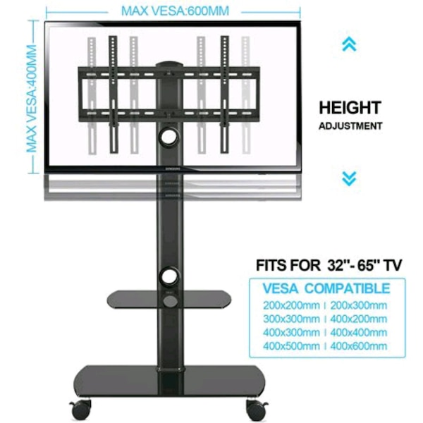 FITUEYES Floor TV Stand with Mount Rolling TV Stan