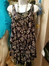 women's black and white floral sleeveless dress Beaumont
