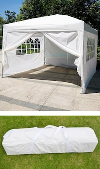 New $100 White 10' x 10' EZ Pop Up Canopy w/ 4 Side Walls, Carrying Bag South El Monte