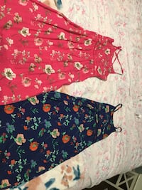 pink and blue floral sleeveless dresses Barrie