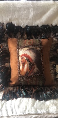 Western Style Pillow with Oil Painting Boca Raton