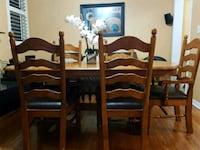 brown wooden dining table with chairs Mississauga, L5N 3V8