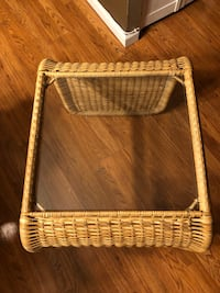 Small glass top wicker table