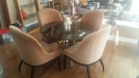 Round glass dining table with 4 chairs set Langley, V2Y 3G5