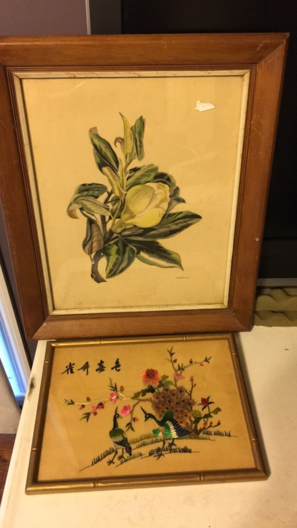 Used Brown Wooden Framed Painting Of Flowers For Sale In Alpharetta