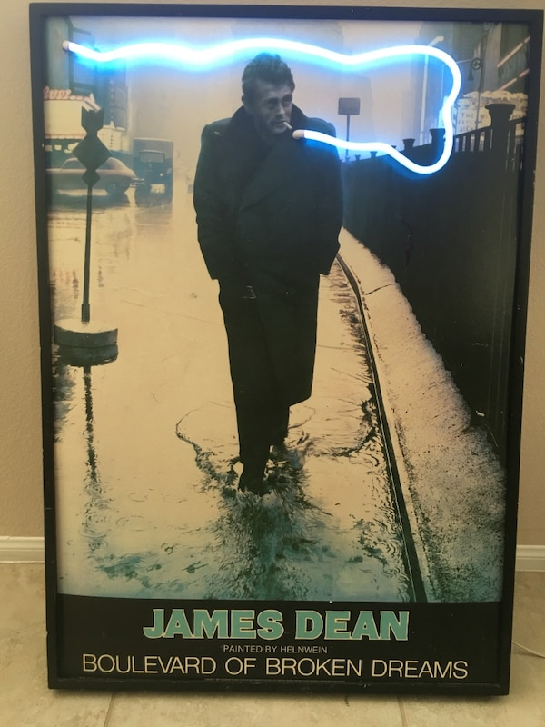 Used James Dean Boulevard Of Broken Dreams Neon Poster For Sale In