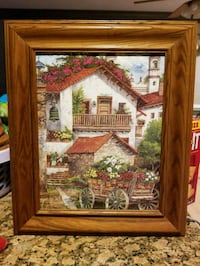 brown wooden framed house watery hand painted. Sterling, 20164