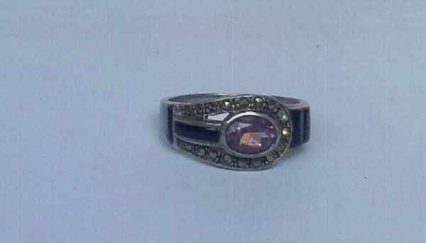 Sterling silver amethyst onyx marcasite ring