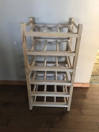 brown wooden 5-layer wine bottle rack