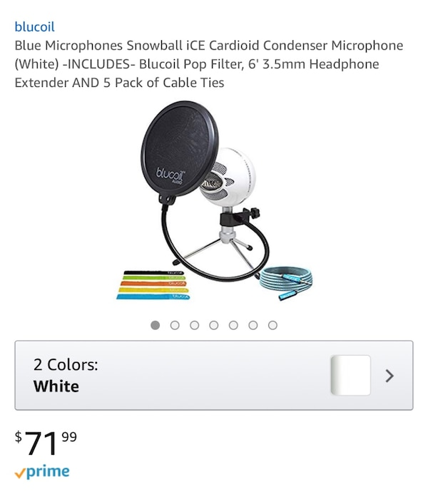 Blue microphones snowball ice versatile usb microphone - white (snowball  ice) with pop shield universal pop filter microphone wind screen with mic