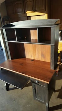 brown wooden computer desk with hutch Long Beach, 90815