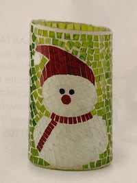 Mosaic snowman candle holder by home interiors  1168 mi