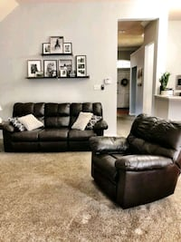 Ashley brown leather reclining sofa & recliner Frisco, 75035