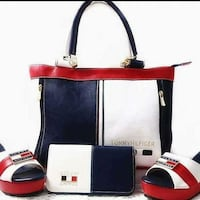 white-red-black leather Tommy Hilfiger tote bag, wallet, and wedge shoes