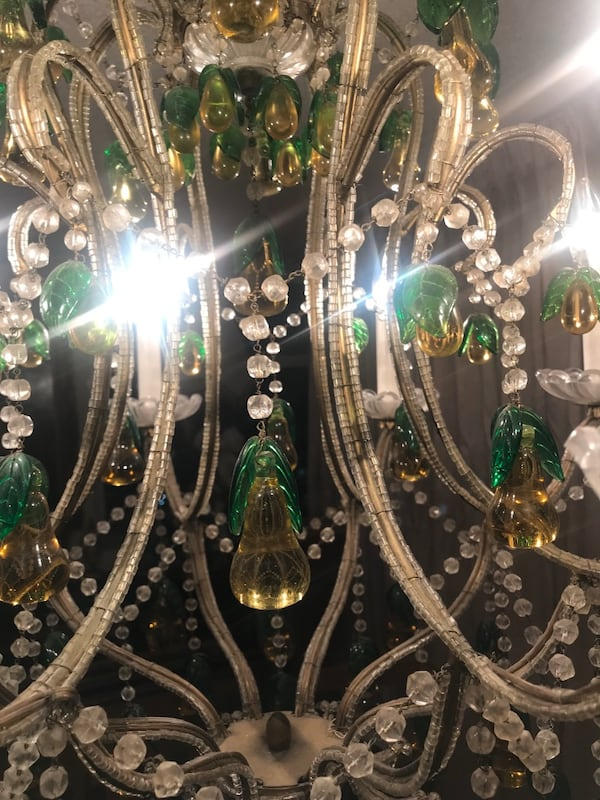 Large antique Italian beaded chandelier with glass pears 3fe17487-cc6b-4849-8598-82f53caf504a