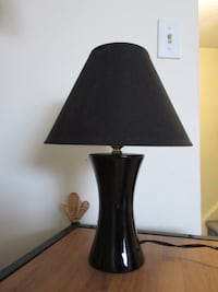 "Small Black Table Lamp, 15"" Tall."