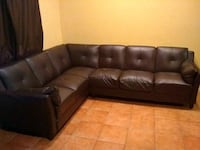 brown Vinyl tufted sectional sofa