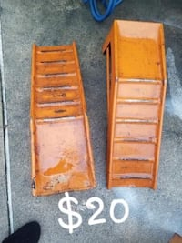 two brown wooden car ramps 371 mi
