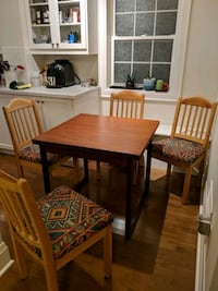rectangular brown wooden table with four chairs dining set Toronto, M8V