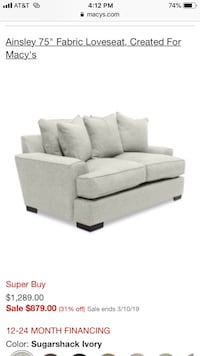 "Brand New Ainsley Deep Loveseat 75"" Fairfax, 22031"