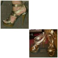 pair of gold-colored open toe sandals Norfolk