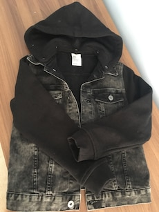 Black and grey chambray button up hooded jacket