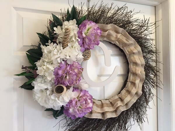 Used Awesome Front Door Decor White And Purple Floral Wreath For