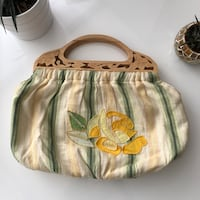 Fabric purse with wooden handle Richmond, V6X