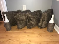 4 Brown faux fur throw pillows & 2 large custom made vases Stockbridge, 30281