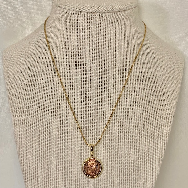 Genuine 14k Gold Roman Coin Pendant with 14k Rope Chain 77c19a22-c927-4add-8c67-2b0d7ac3717a