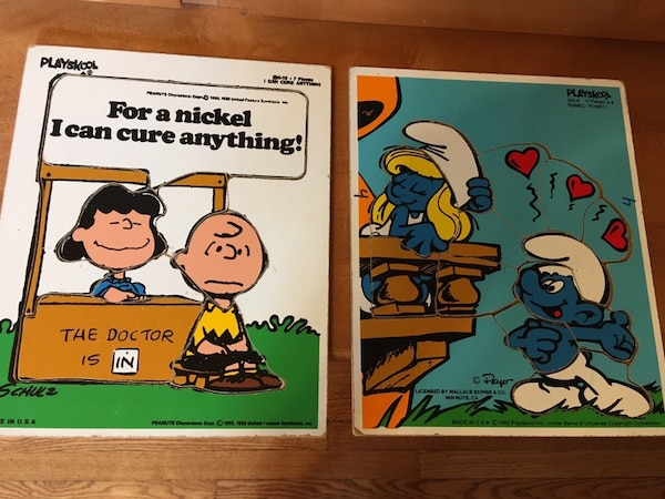 Vintage 1970s And 80s Peanuts And Smurfs Wooden Puzzles
