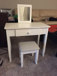 White wooden kids make up vanity and chair Edmonton, T6N