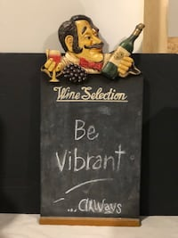 Wine-Themed Chalk Board and Wine Rack