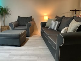 3 piece set (couch , chair and ottoman)  charcoal gray.
