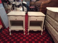 antique white dresser and nightstands