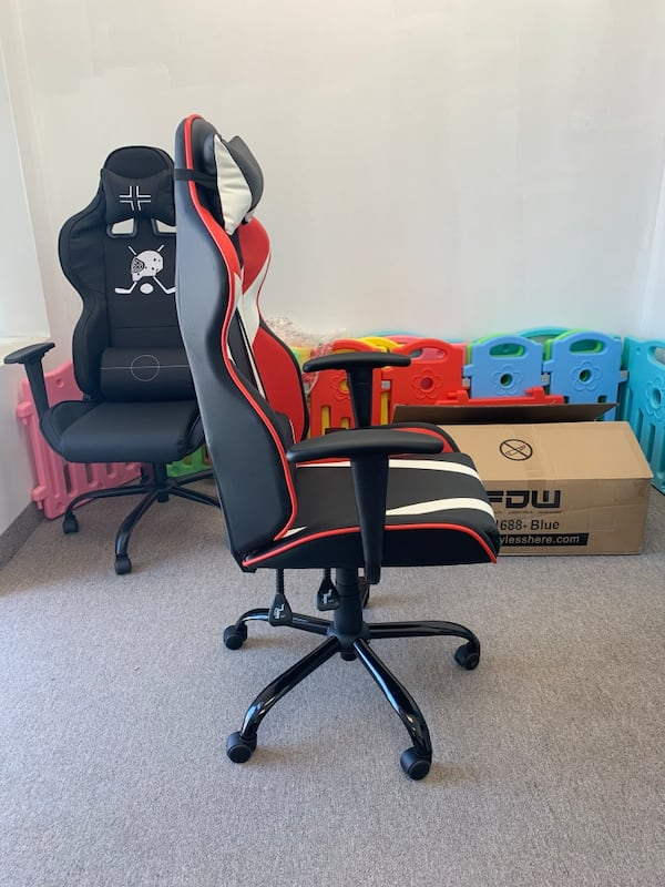 Black white red gaming chair with recliner f15a09b7-eaa8-4014-8f36-5a34888c7308