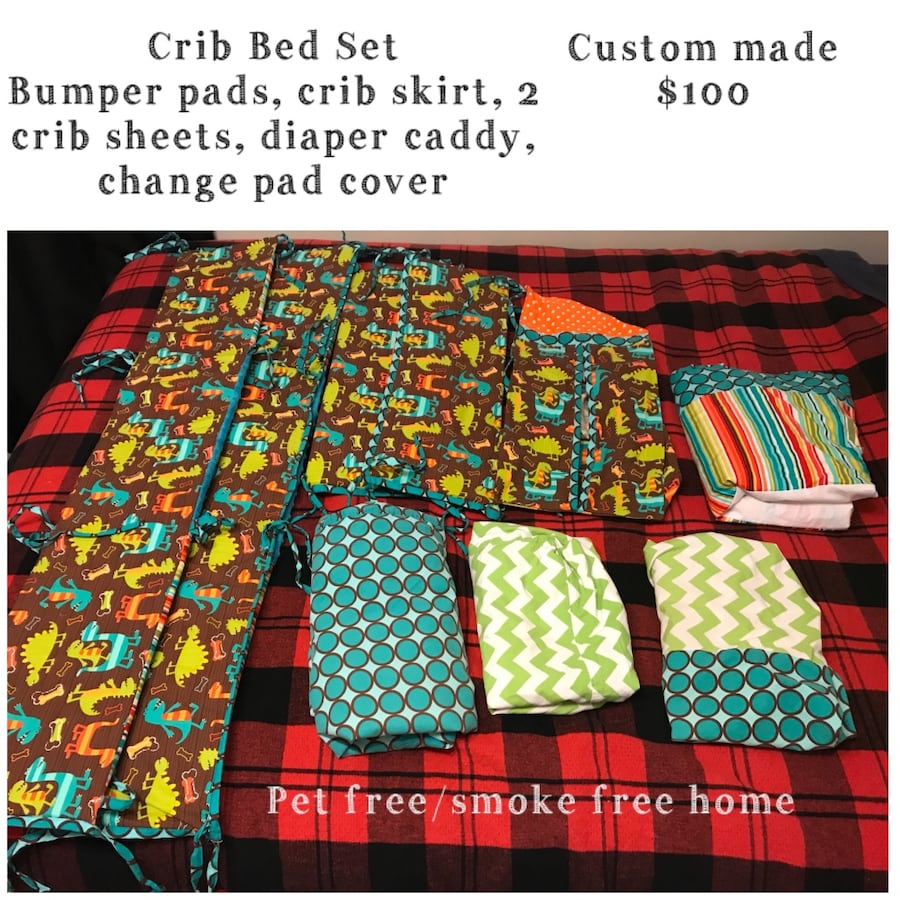 Crib bed set bumper pads