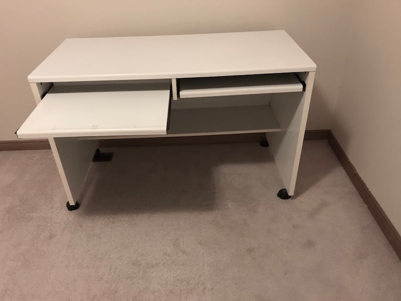 Moving Sale: a white desk with two movable keyboard shelves 2a201478-92c8-4a39-82b6-356ed75cca8c