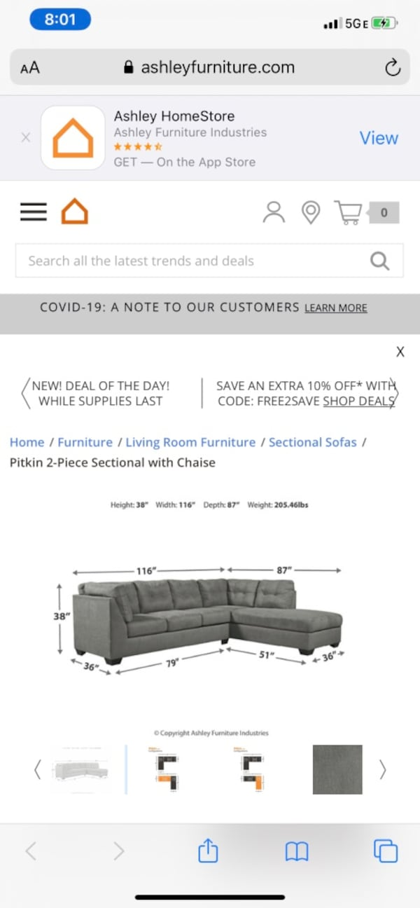 Ashley furniture Sectional, SERIOUS INQ ONLY! c0d8ddd1-706c-4d5f-a452-83296fcc4c4c