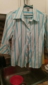 blue and white strips dress shirt