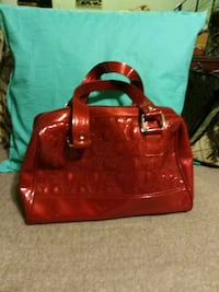 women's red leather tote bag