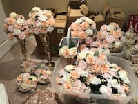 Rose gold and pink wedding decor