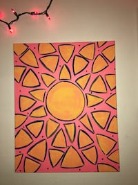 pink and yellow sunburst painting Raleigh, 27606